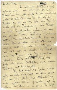ie handschriftlich erste Seite von Kafkas (nicht abgeschicktem) Brief an den Vater (1919)